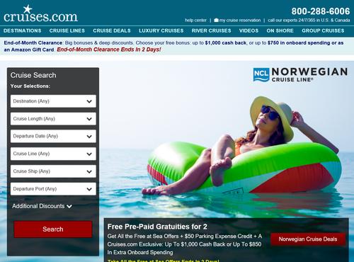 Cruises.comトップ画面