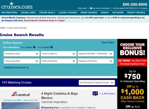 Cruises.comの検索結果