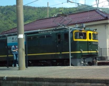 木ノ本駅 SL北びわこ号にドッキングした電気機関車正面