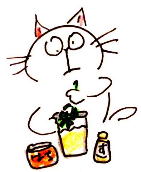 本日の魔界ジュース ミントの葉っぱ、お湯、はちみつ、お酢