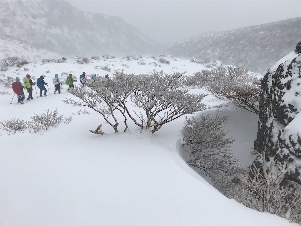 雪の中の大岩を通過する人々