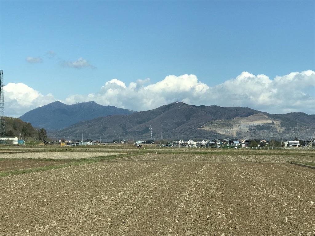 遠方から見たつくば山と宝篋山