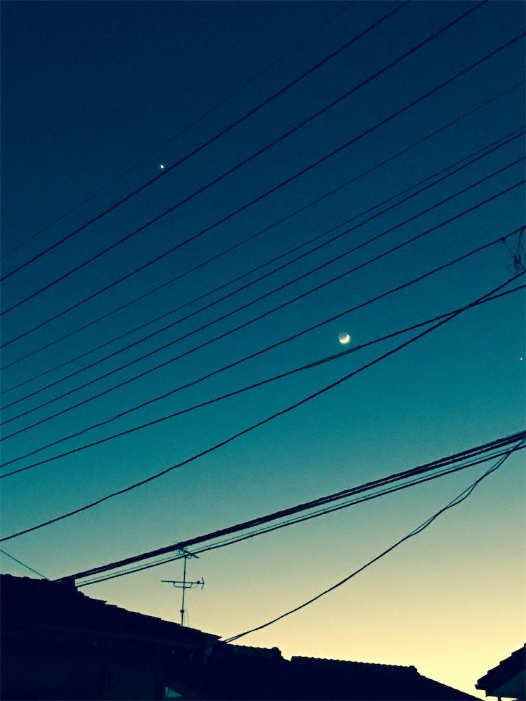 宵の金星と月