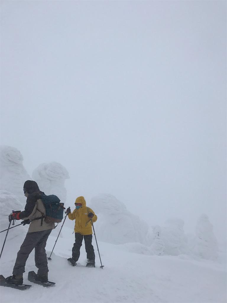 強風と吹雪に思わずスノーモンスターの陰に。