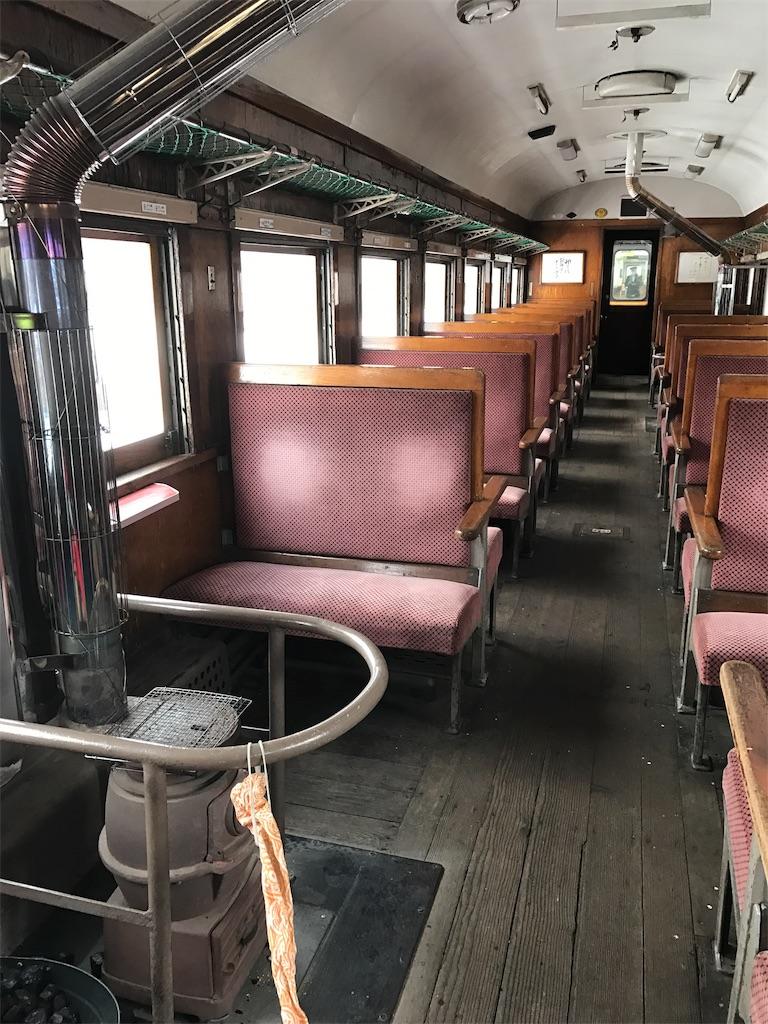 赤いシートと木の床と木の扉と窓、そしてダルマストーブのある列車内。