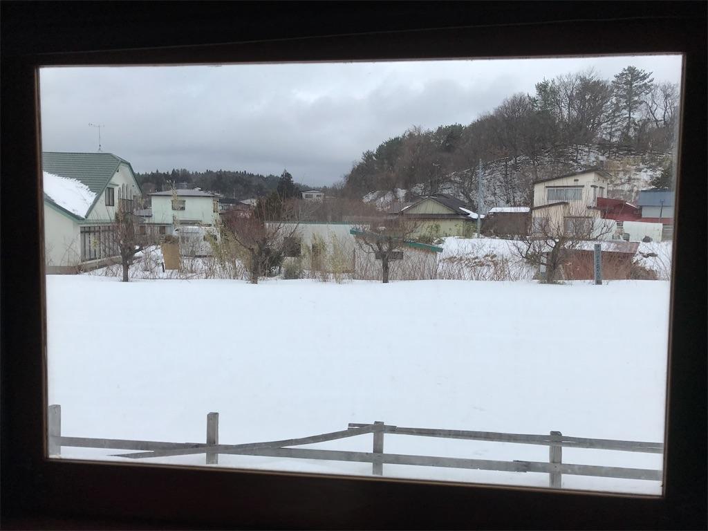 走る列車の車窓から見える雪景色。