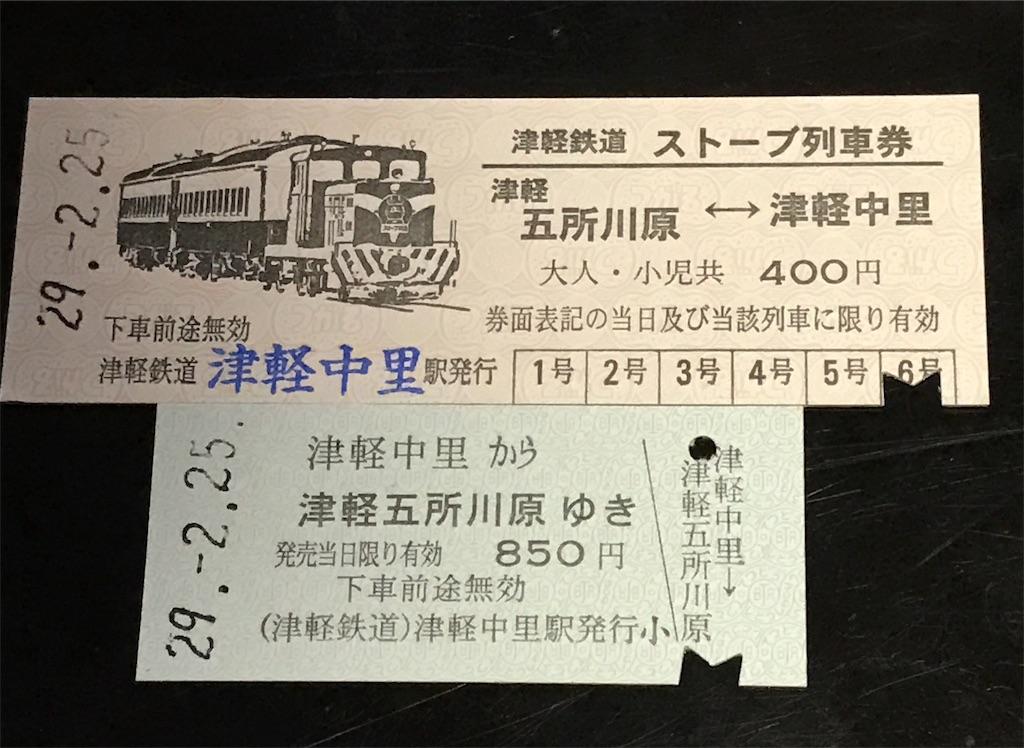 津軽鉄道・五所川原線のストーブ列車の2枚の切符