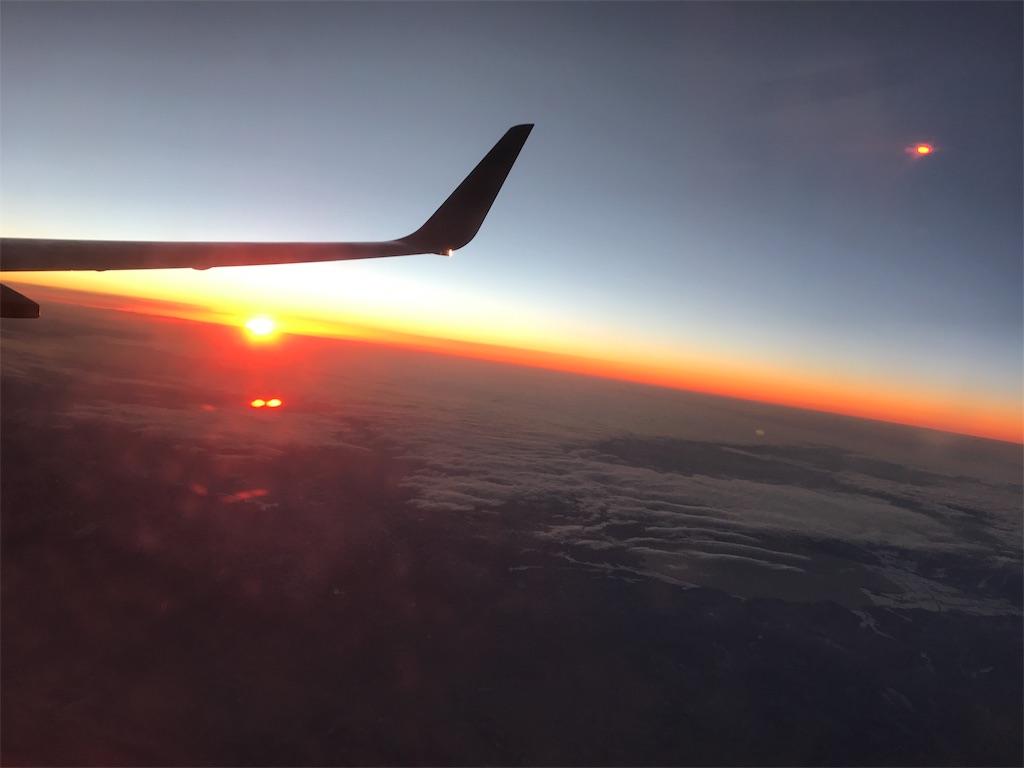 飛行機からの夕陽