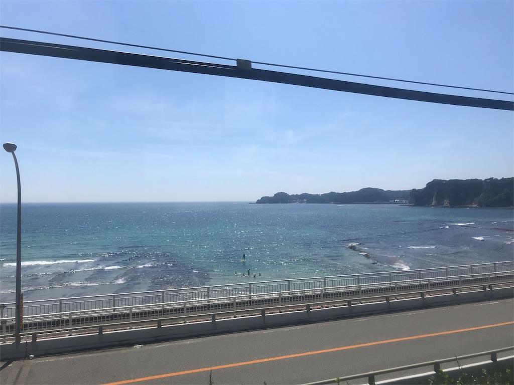 電車から見えた青い海