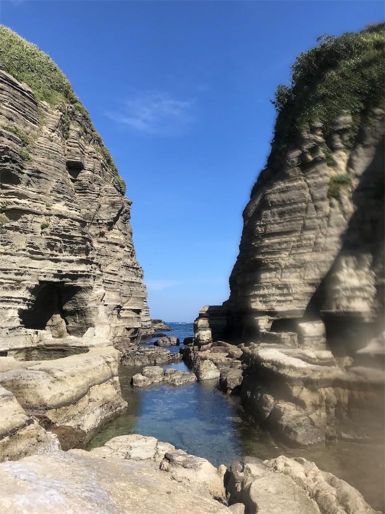 岩と岩の間から見える海