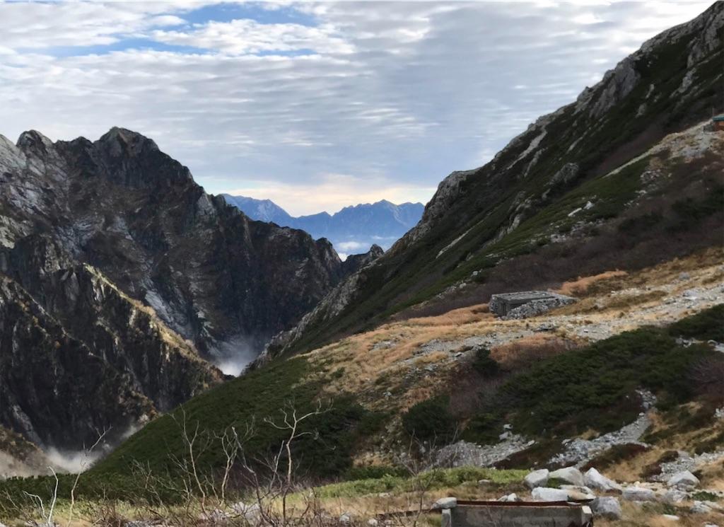 雪渓への下り