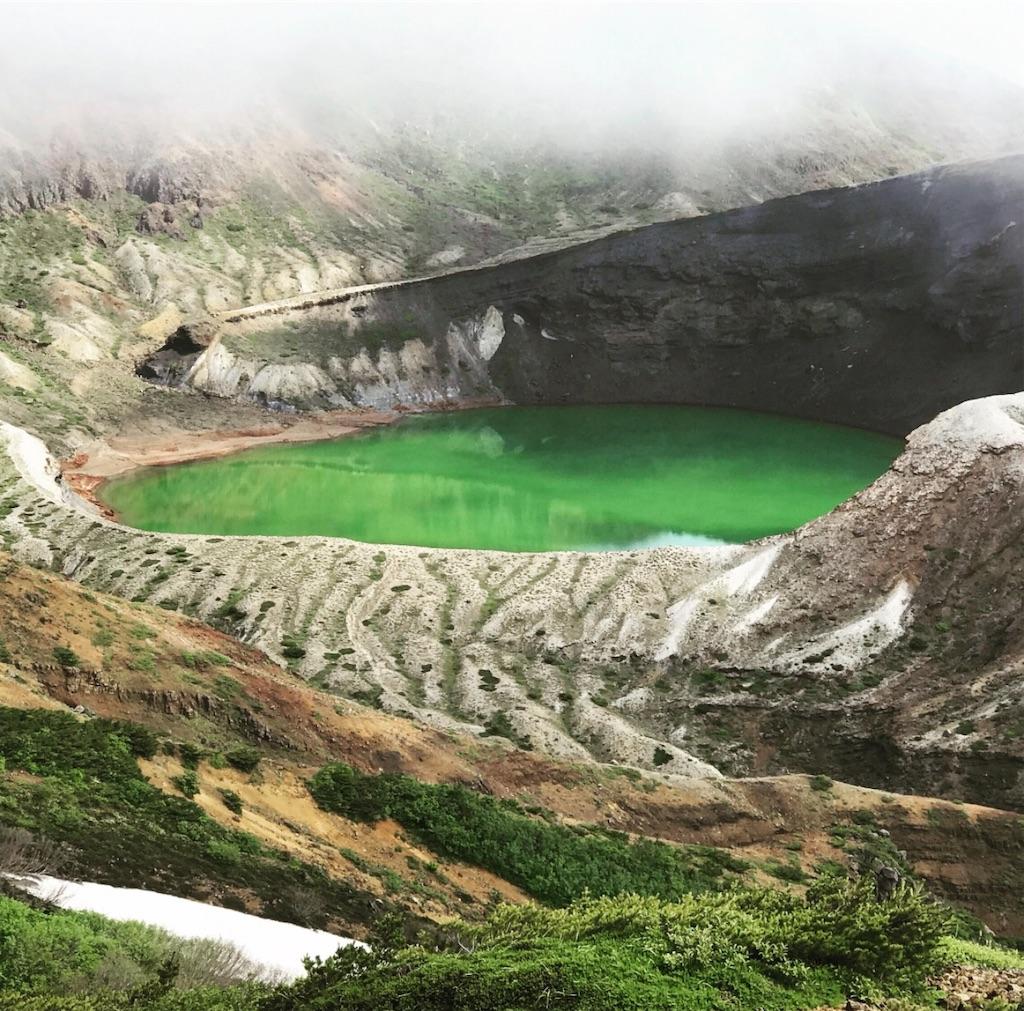 エメラルドグリーンの蔵王の火口湖