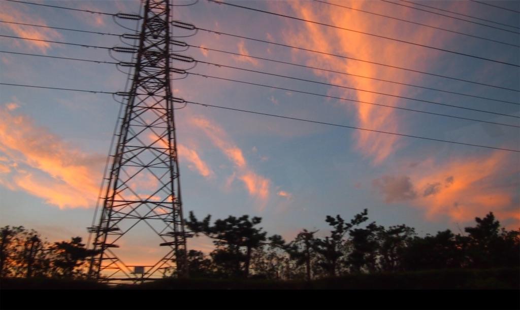 鉄塔と夕暮れ