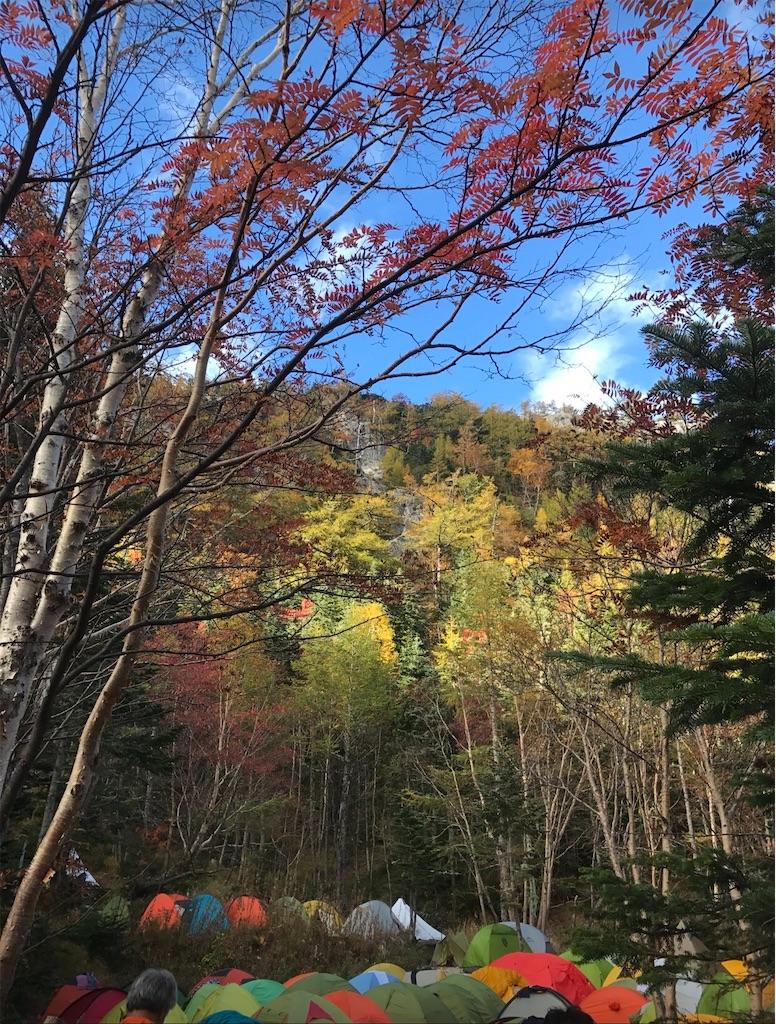 紅葉と、カラフルで色とりどりのたくさんのテント。
