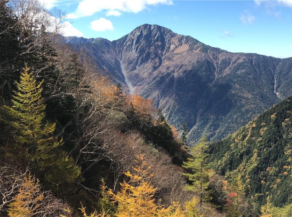 紅葉と北岳バットレス