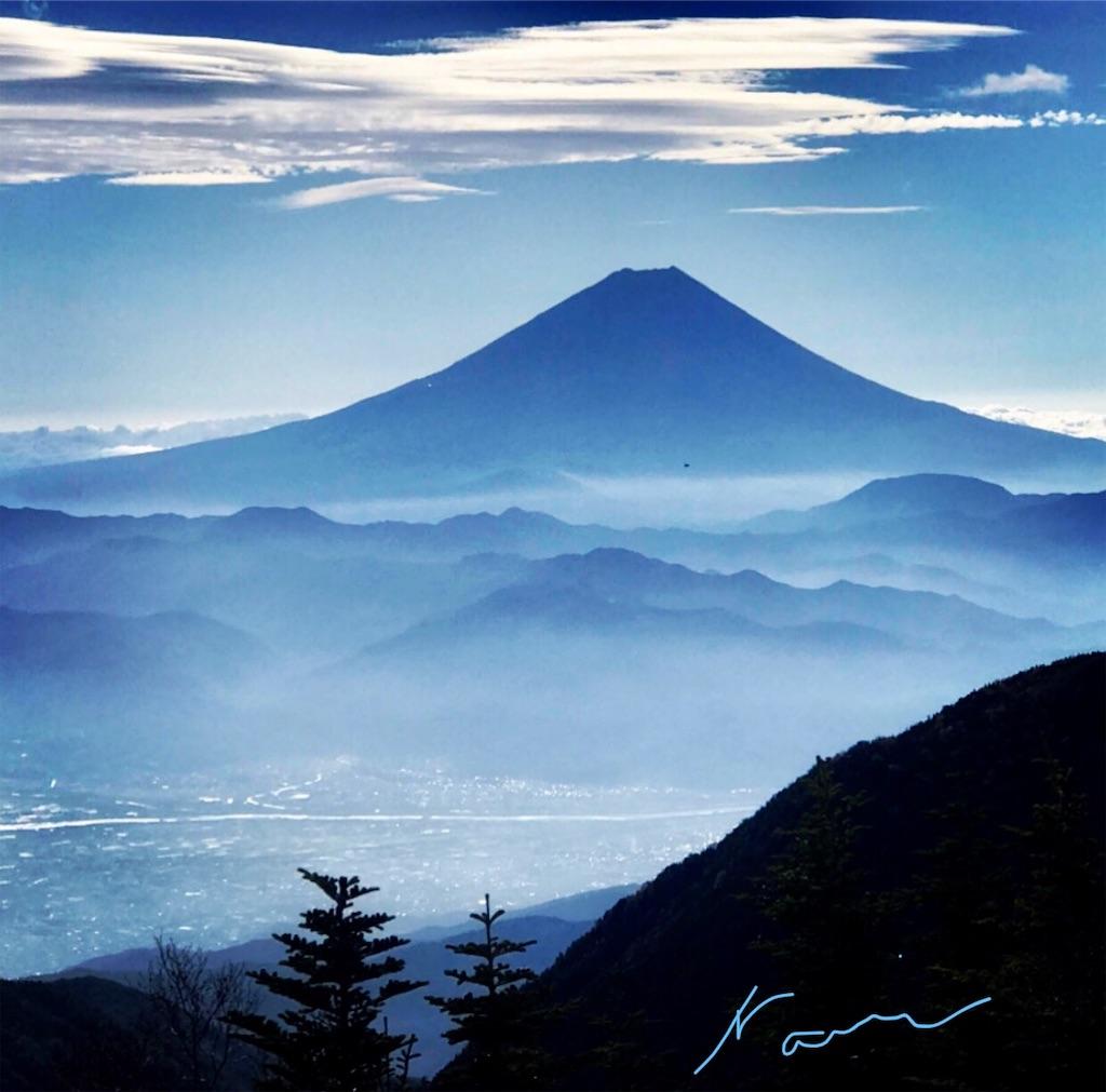 南アルプス鳳凰三山から見た富士山
