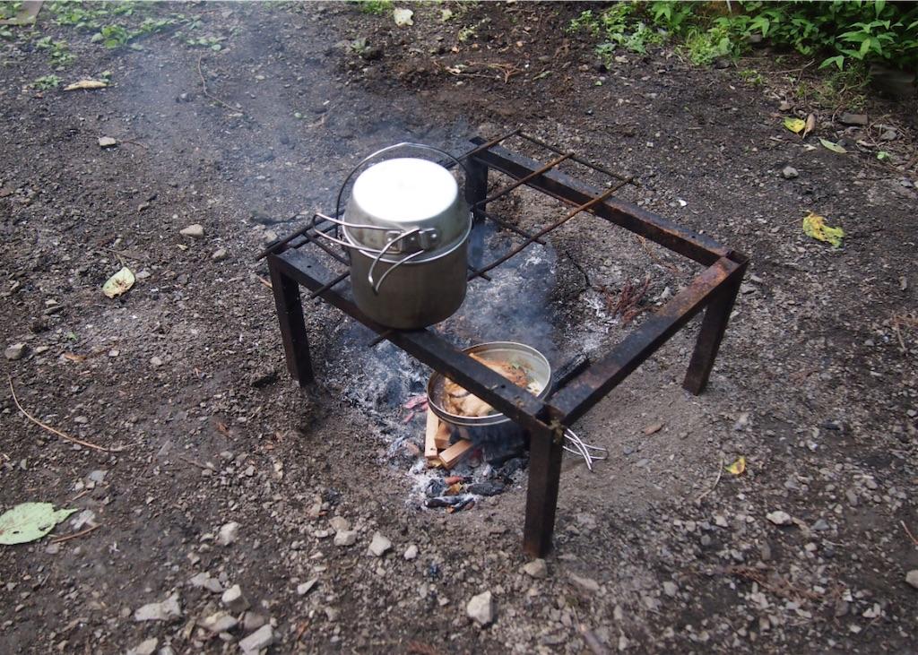 焚き火で料理