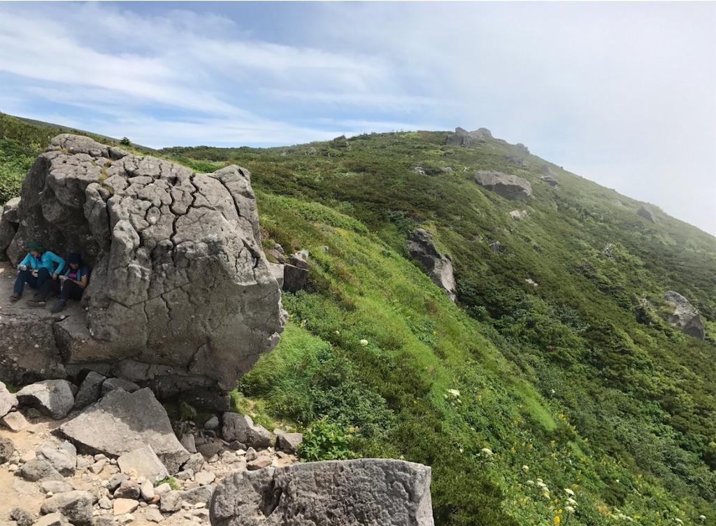黒ボコ岩陰で休憩です