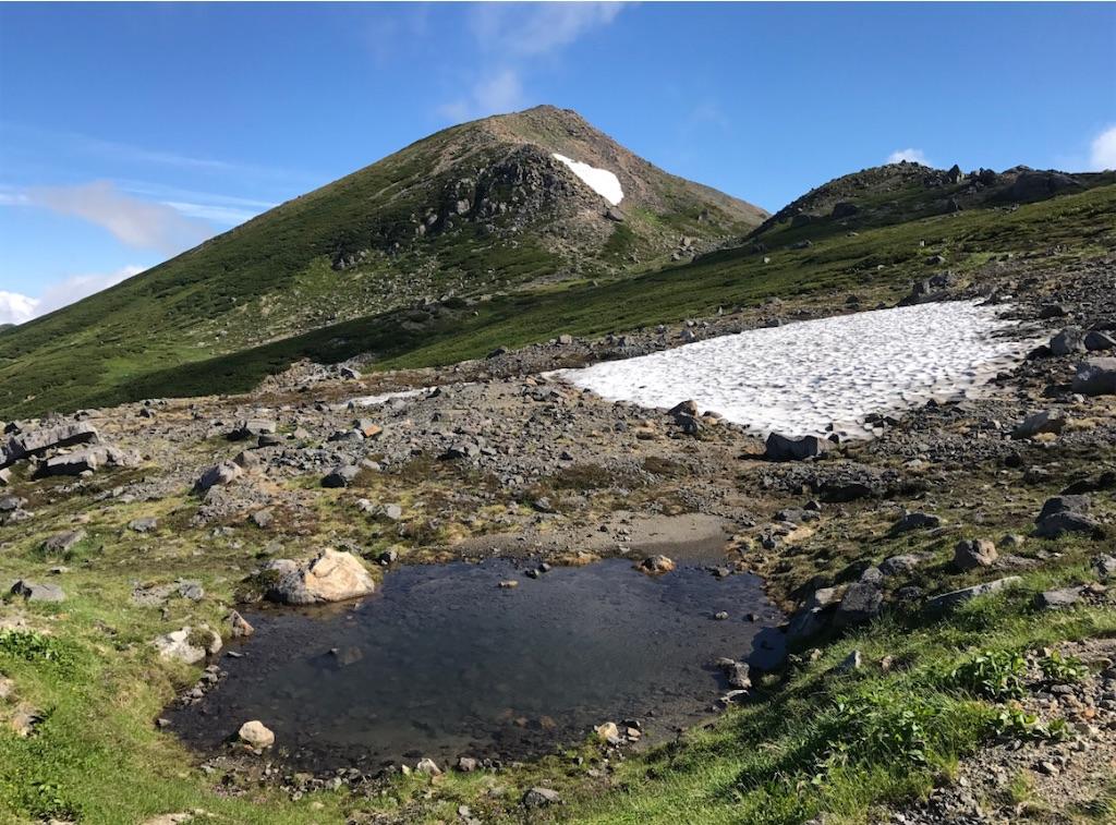 小さな雪解けの池