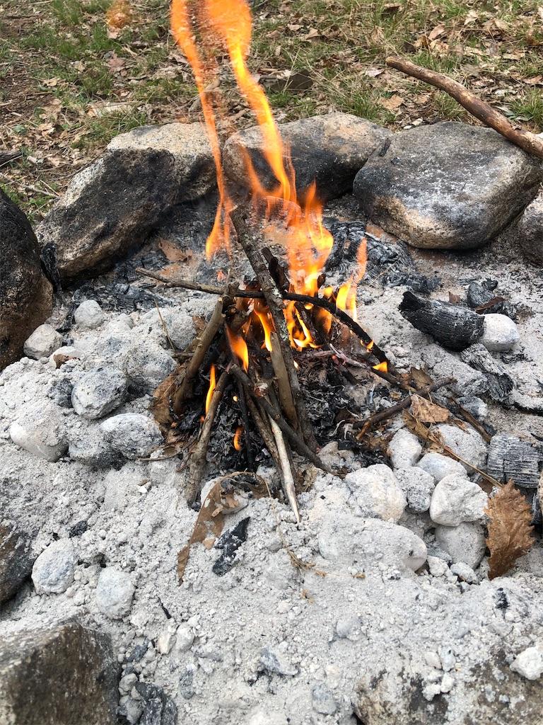 初めての自分だけの焚き火。