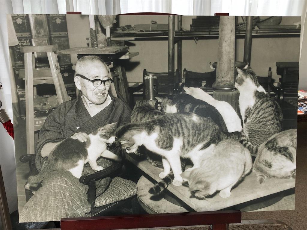 朝倉文夫と愛猫たち。