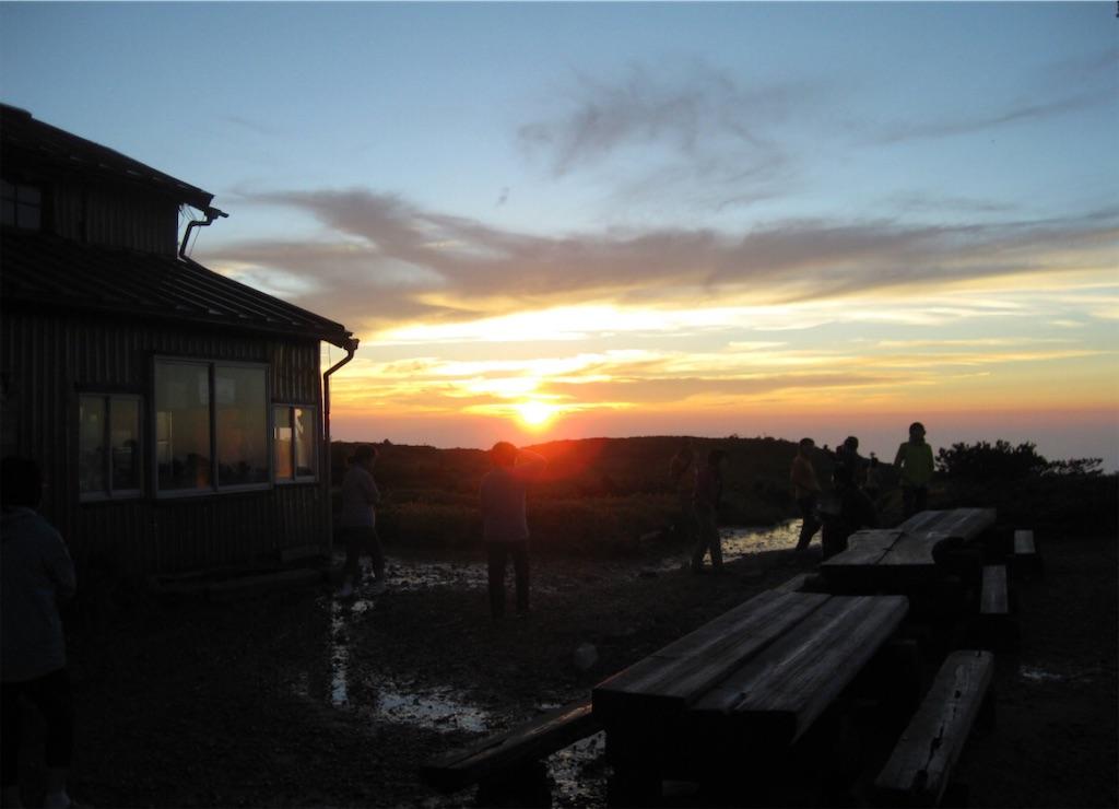 太郎平小屋と夕陽