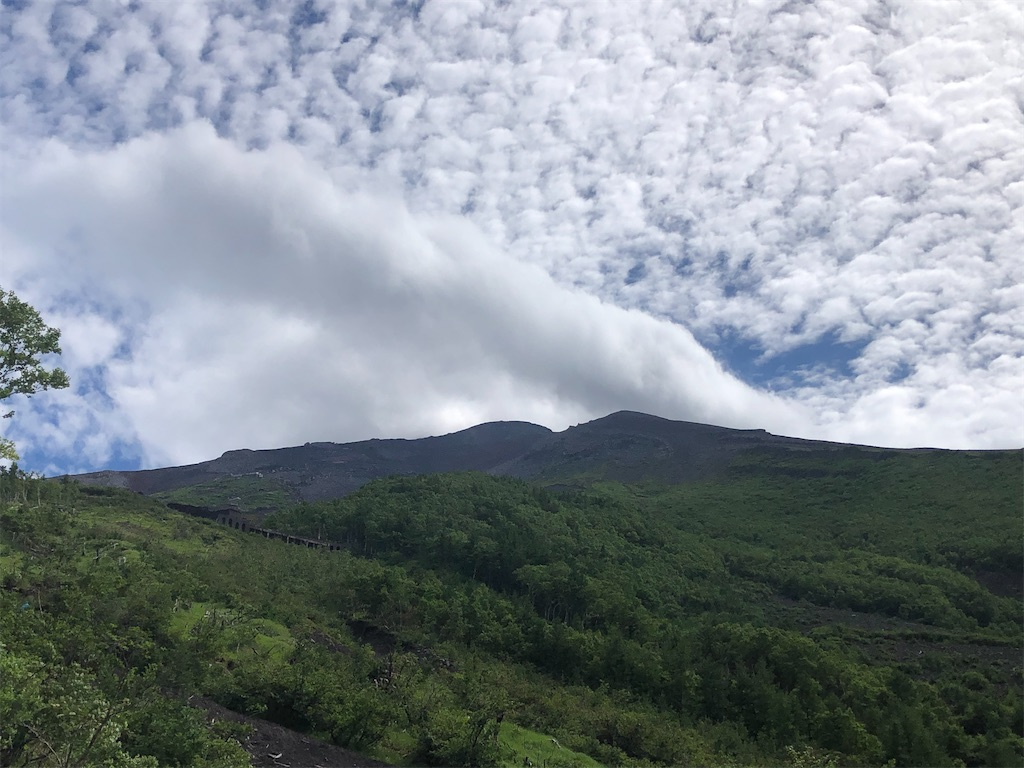 五合目佐藤小屋から見る富士山頂。