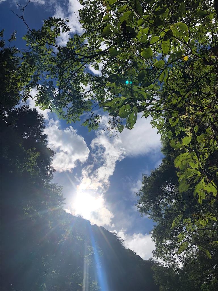 谷間から照りつける夏の太陽