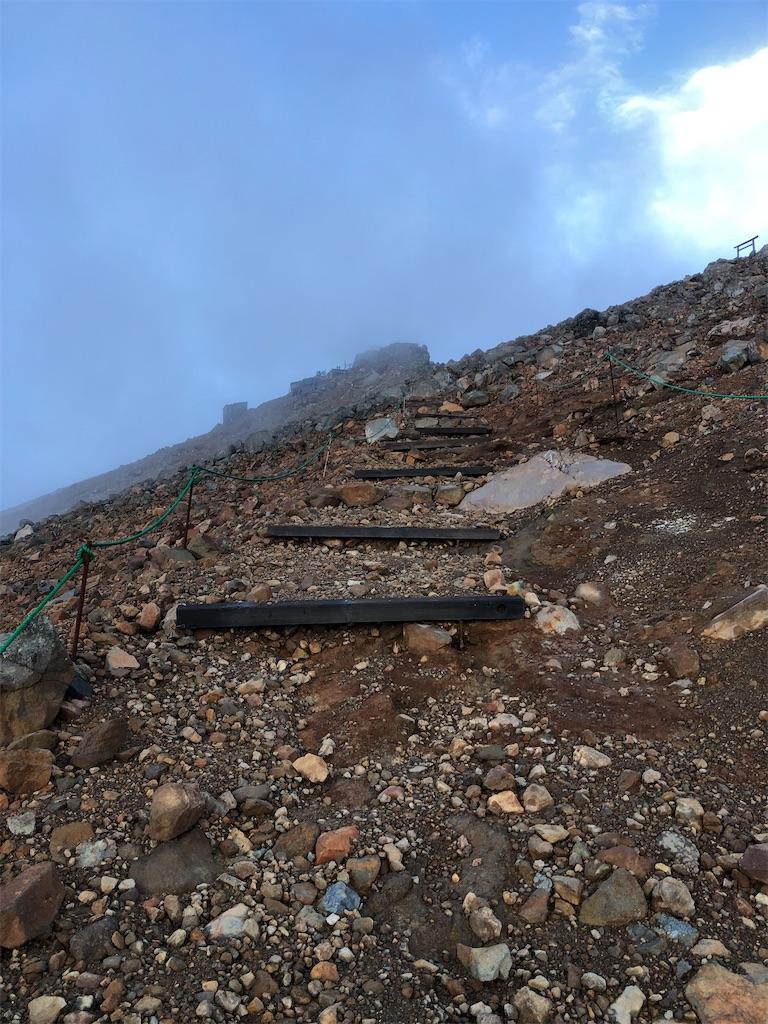 ガスや雲がかかっては通り過ぎる山頂剣ヶ峰