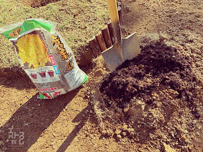 戻す土に対して30%ぐらいを目処に腐葉土を