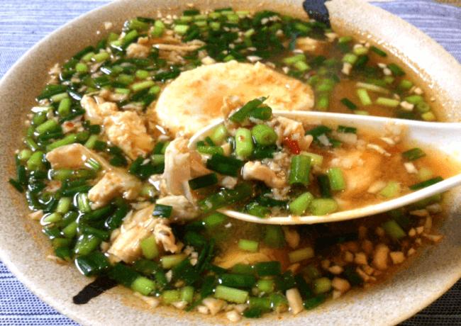 辛さと旨さの豆板醤チキン小ネギ雑炊(糖質7.4g)