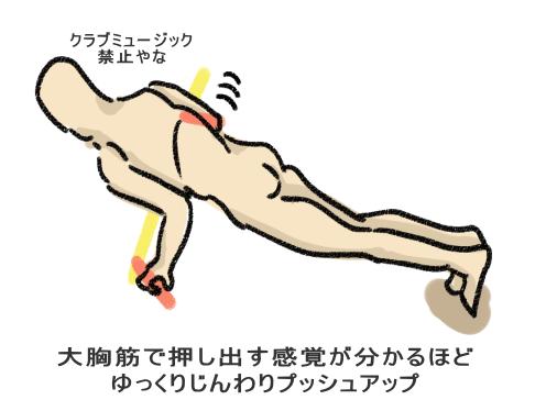 大胸筋で押し出す感覚が分かるほど ゆっくりじんわりプッシュアップ
