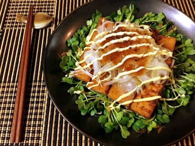 一味マヨジュレぽん酢の玉葱厚揚げステーキ(糖質5.6g)