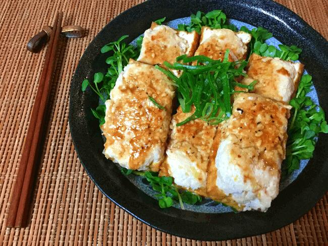 ささみネギ厚揚げの極潤肉汁マヨ照り焼き(糖質5.7g)