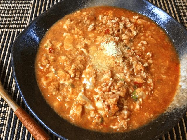 トマト豆腐の濃厚担々麺風卵チキンスープ(糖質9.8g)