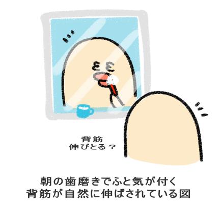 朝の歯磨きでふと気が付く 背筋が自然に伸ばされている図