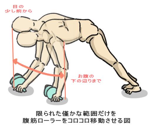 限られた僅かな範囲だけを 腹筋ローラーをコロコロ移動させる図