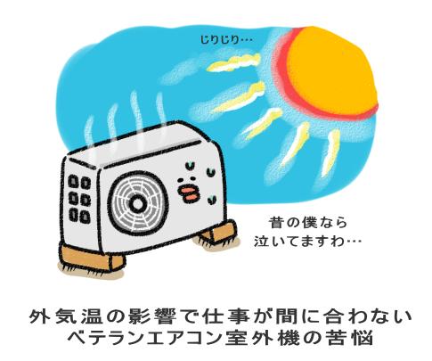 外気温の影響で仕事が間に合わない ベテランエアコン室外機の苦悩