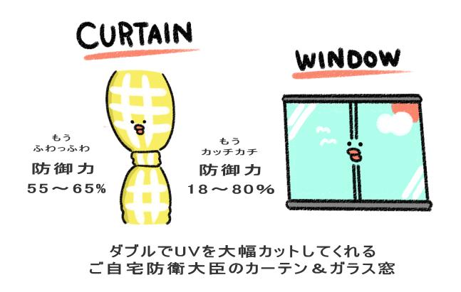 ダブルでUVを大幅カットしてくれる ご自宅防衛大臣のカーテン&ガラス窓