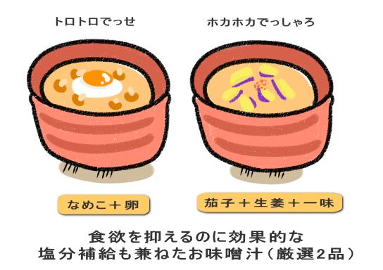食欲を抑えるのに効果的な 塩分補給も兼ねたお味噌汁(厳選2品)