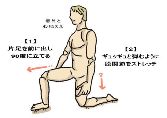 ギュッギュと弾むように 股関節をストレッチ