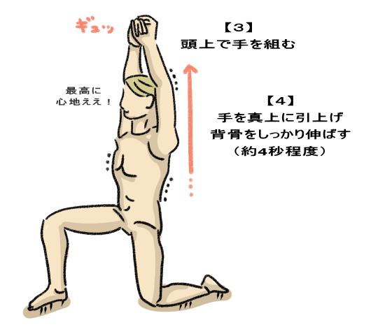 手を真上に引上げ 背骨をしっかり伸ばす (約4秒程度)