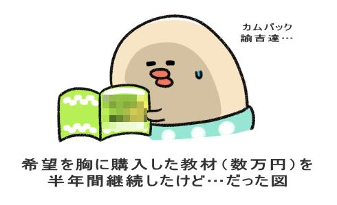 希望を胸に購入した教材(数万円)を 半年間継続したけど…だった図
