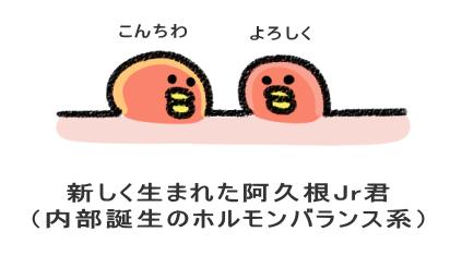 新しく生まれた阿久根Jr君 (内部誕生のホルモンバランス系)