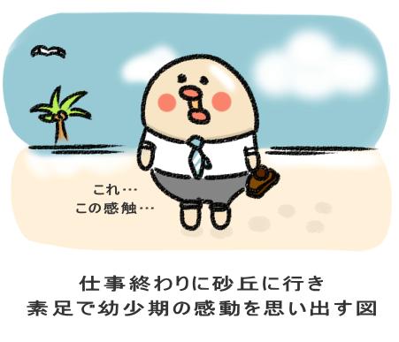 仕事終わりに砂丘に行き 素足で幼少期の感動を思い出す図