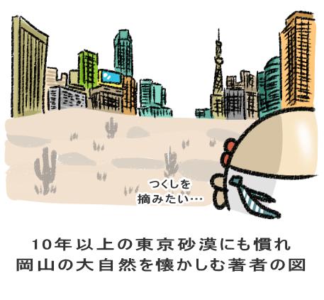 10年以上の東京砂漠にも慣れ 岡山の大自然を懐かしむ著者の図