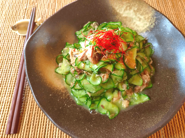 シンプル極上生姜辣油のサバ缶胡瓜常備菜(糖質3.3g)