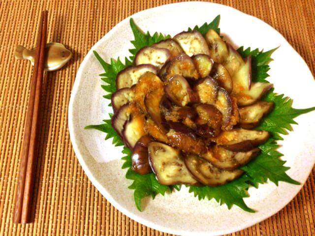 茄子お刺身の絶品オリーブ生姜醤油(糖質4.6g)