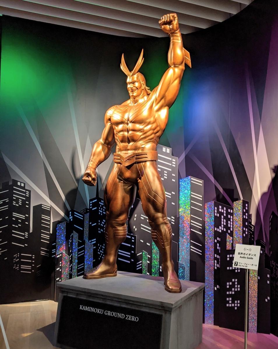 僕のヒーローアカデミア展 ヒロアカ展 オールマイトの金色の像 写真スポット 撮影可能エリア