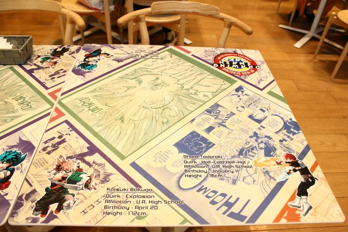 ヒロアカ展コラボカフェ DRAWING SMASH CAFEのテーブル